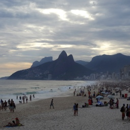 Ipanema beach as it nears evening and the carnaval parties begin