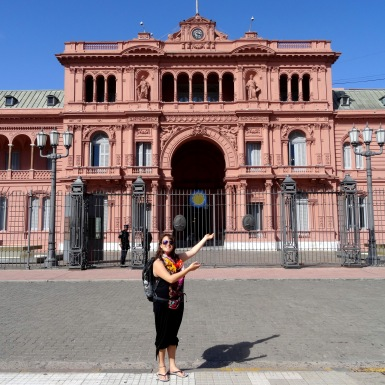 Casa Rosada, the presidential offices, which border the Plaza de Mayo