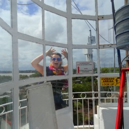 At the top of the lighthouse