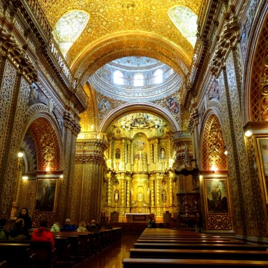 Inside La Compania church of Quito