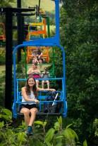 Riding the park's ski lift