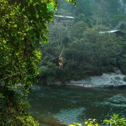 Helen zip lining in Rio Claro