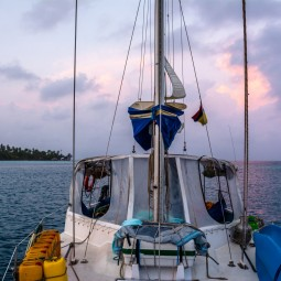 Boat in sunrise at San Blas (Large)
