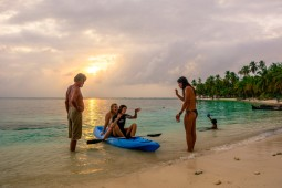 Discussing the reef during sunset in San Blas (Large)