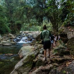 Walking past a small waterfall